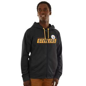 NFL Pittsburgh Steelers Ribbed Zip Up Hoodie Jacket Black Mens Adult