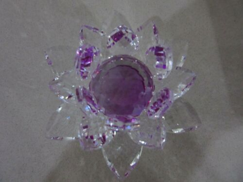 Crystal Cut Purple Faceted Lotus flower Figurine Paperweight Wedding Gift  10cmL