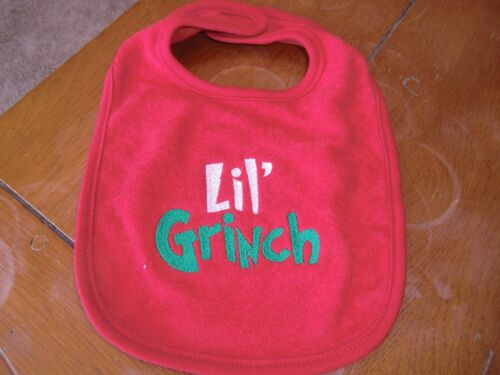 Lil/' Grinch on Red Bib Embroidered Baby Bib