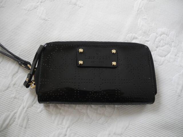 Nwt Kate Spade Jazzy Metro Black Patent Perforated Wristlet Wallet 158 New