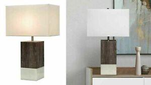 Rowan Table Lamp - Costco Off White Shade Wooden Base Rectangle Shape #1355746