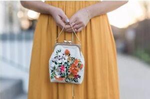 floreali Borsa paillettes mini Bnwt ricamata con motivi mano e a Zara a tracolla qwRqB1p
