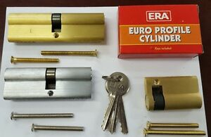 ERA Door Lock 6 Pin Euro Cylinder 45//55 Double Glazed Door UPVC Satin brass