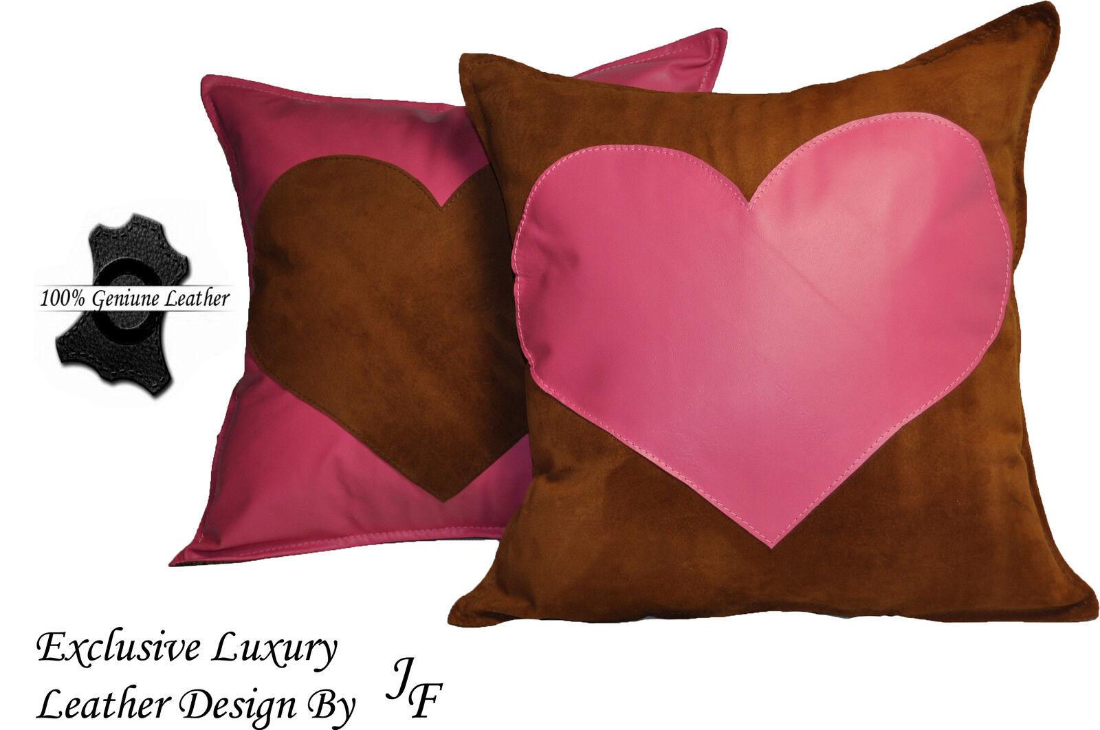 2x Luxe Luxe Luxe Véritable Daim Cuir Coussin Coeur Design Rose Grand tan   De Biens De Toutes Sortes Sont Disponibles  bd2481