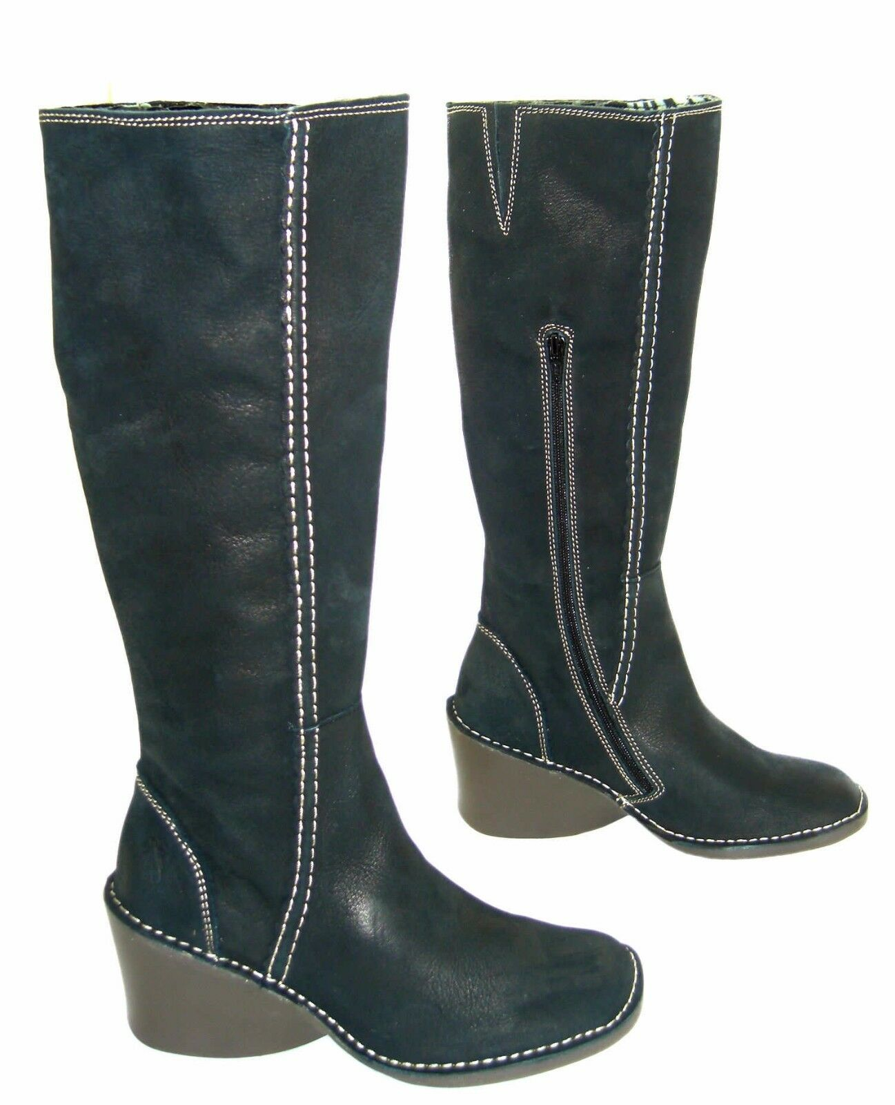 FLY LONDON ERIKA OLIVE GREEN LEATHER KNEE HIGH WEDGE BOOTS UK 4 EUR 37