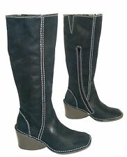 FLY LONDON ERIKA OLIVE GREEN LEATHER KNEE HIGH WEDGE BOOTS UK 4 EUR 37 RRP £130
