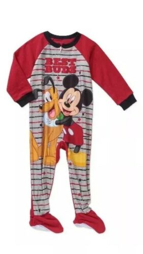 Toddler Boys Mickey Mouse Fleece Footed Pajamas 2T 3T,