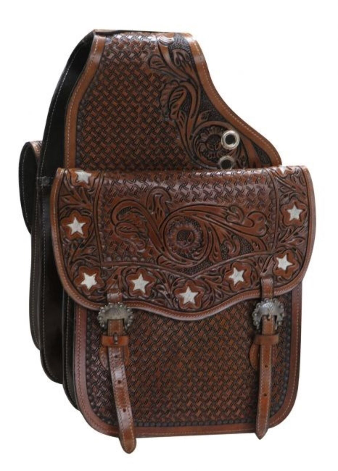 Showman MEDIUM OIL Tooled Leather Saddle Bag W  Hair On Cut Out Cowhide Stars