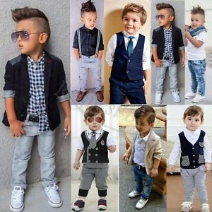 3b262f47b Baby Boys Kids Gentleman Outfits Suit Coat Tie Shirt Pants Waistcoat ...