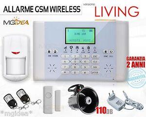 ALLARME-ANTIFURTO-WIRELESS-DISPLAY-LCD-GSM-LIVING-2-SIRENA-INTERNA-CASA-GARAGE