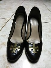 81c0641ecd48bb item 3 Tory Burch Raleigh Leather Wedge Pump Black Gold Logo Heels Shoes  Size 8M -Tory Burch Raleigh Leather Wedge Pump Black Gold Logo Heels Shoes  Size 8M