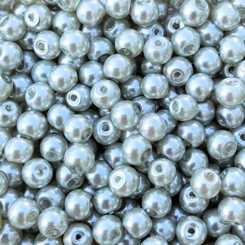 75 Stück 32645 Glaswachsperlen hellgrau Ø 4 mm
