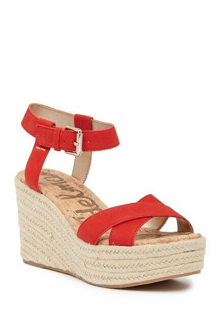 Sam Edelman Women's Destin Espadrille Wedge Sandal Size 10 Red, MSRP  130