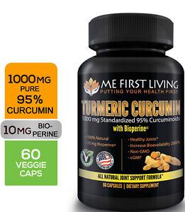 Me First Living Standardized Turmeric 1000 mg 95% Curcuminoids, 10 mg Bioperine