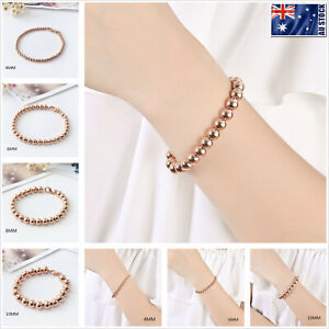 18K-Rose-Gold-Filled-Women-039-s-Classy-Solid-Beads-Bracelet-Beaded-Chain-4mm-10mm