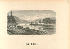 l'Ourthe River Tilff Tif Esneux Liège Wallonie GRAVURE ANTIQUE OLD PRINT 1880