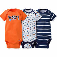 Baby Boy Onesies Lot Of 3 Gerber Sports Nb 0-3 12 Months
