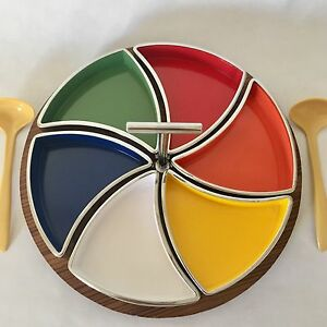 Mid Century Vintage Relish Dish Melamine Sushi Serving Japan Colorful Pinwheel