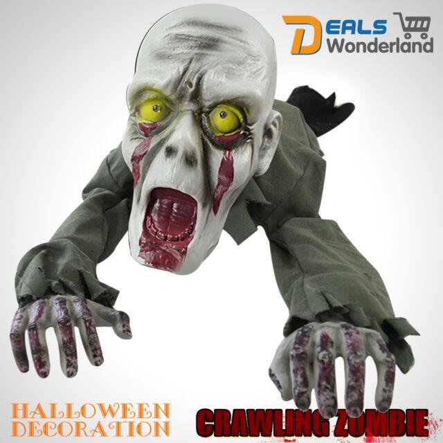 Scary Halloween Ground Crawling ZOMBIE Skeleton Animated Prop Haunted Decoration