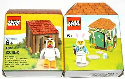 Lego Iconic Easter Bunny Hut 5005249,chicken Suit Guy 5004468 Mini Figure Sets
