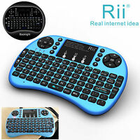 Rii Handheld I8+blue Wireless Keyboard With Backlit For Smart Tv Desk Computer