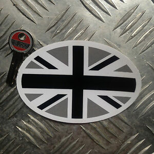 Black-Union-Jack-oval-car-sticker-decal-110mm-wide-x-70mm-high-British-flag
