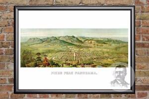 Vintage-Pikes-Peak-CO-Map-1890-Historic-Colorado-Art-Old-Victorian-Industrial