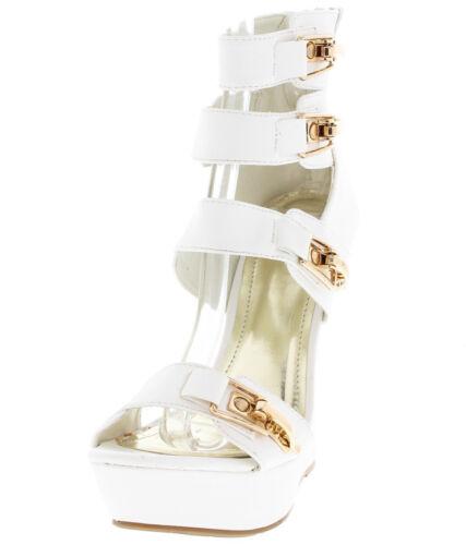 NEW Caged Open Toe Gold Buckle Platform Gladiator Wedge High Heel Sandal Size W1