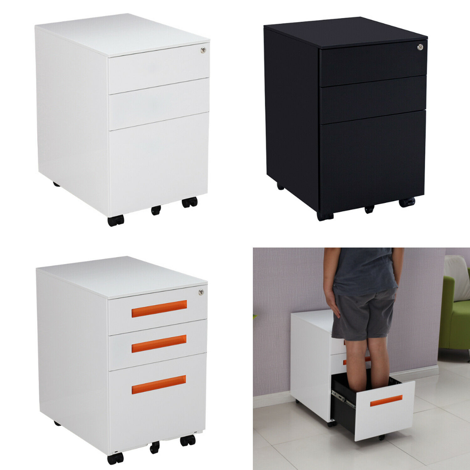 3 Pedestal Drawers Filing A4 Storage Lockable Casters Office Mobile File Cabinet