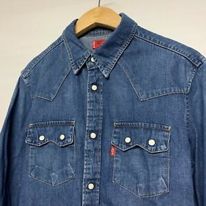 Levi-039-s-Levi-Strauss-Classic-Vintage-blue-Denim-Shirt-Small-S-Red-Tab-Cowboy