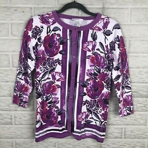 Isaac Mizrahi Live! Women's Engineered Floral Print Cardigan XXS A289603 Purple