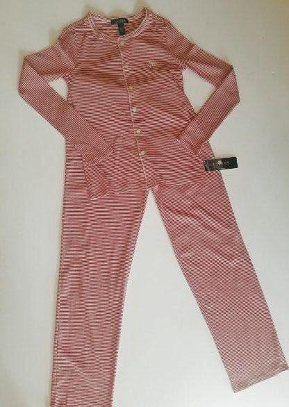 RALPH LAURENNEW Cotton Knit Stripped Logo Button Down Stripped Pajamas Set  L