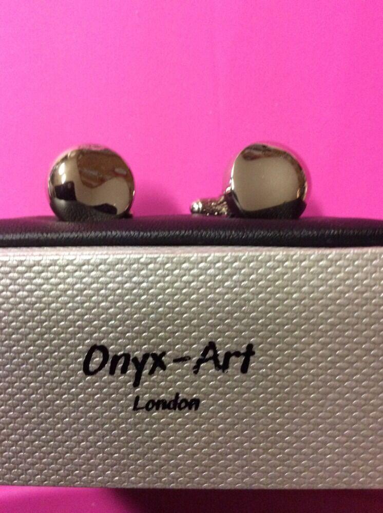 **REDUCED** Silver Round Chrome Ripple Design Cufflinks by Onyx Art CK213