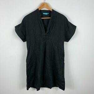 Blue-Illusion-Womens-Linen-Dress-Small-Black-Short-Sleeve-V-Neck-Shift-Pockets
