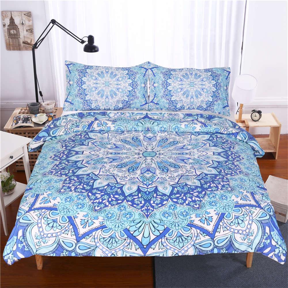 bluee Flower Cloth Blooming 3D Digital Print Bedding Duvet Quilt Cover Pillowcase