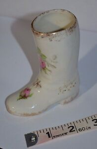 Porcelain Boot Floral 22K Gold Trim