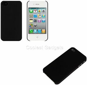 For-Apple-iPhone-4-4S-Rubberised-Hard-Back-Case-Cover-Black