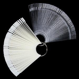 50Pcs-Tarjeta-De-Color-Unas-Falsas-Practica-Manicura-Puntas-Pantalla-Ventilador-Blanco-Transparente