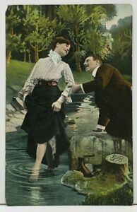 Victorian-Romance-Man-and-Woman-at-Creek-1907-to-Harrisburg-Pa-Postcard-I13
