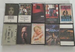70s 80s Classic Rock Cassette Tape Lot of 10  - Billy Joel Bruce Springsteen VH