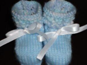 Premmie-Newborn-Baby-Bootira-039-Blue-amp-white-Mixed-039-Hand-Knitted