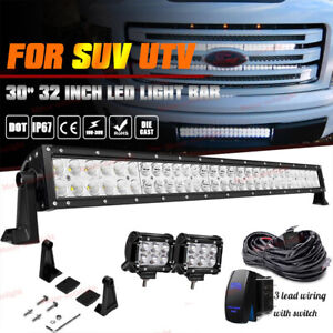 30inch DOT Approved 150W LED Light Bar Hidden Grille For Ford F150 F250 F350