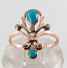 LUSH 9K 9CT ROSE GOLD PERSIAN TURQUOISE & DIAMOND ART DECO INS RING FREE RESIZE