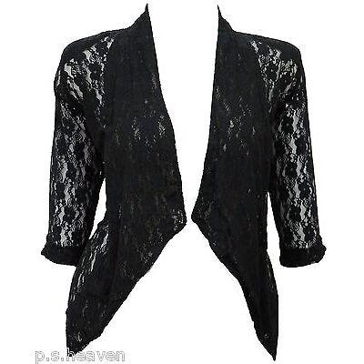 Womens New Dressy  Black White Bolero Shrug Top Lace Jacket Size 16 - 26