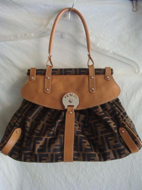 c676e0c0a119 WOMENS FENDI MONOGRAM LEATHER SHOULDER BAG PREOWNED BROWN