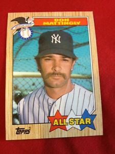 Details About Don Mattingly Baseball Card All Star 606 1987 Topps Rare Perfect Condition