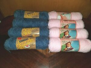 Vintage-Caron-Dazzleaire-4-Ply-Worsted-Yarn-8-skeins-Soft-Pink-amp-Homespun-Blue