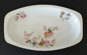 Epiag Czechoslovakia Platter Relish Tray Pink Blue Roses Gold Trim 6278 9 1/2""