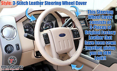 2008 2009 Ford F250 F350 Lariat-Tan Leather Steering Wheel Cover -3-Stitch Style