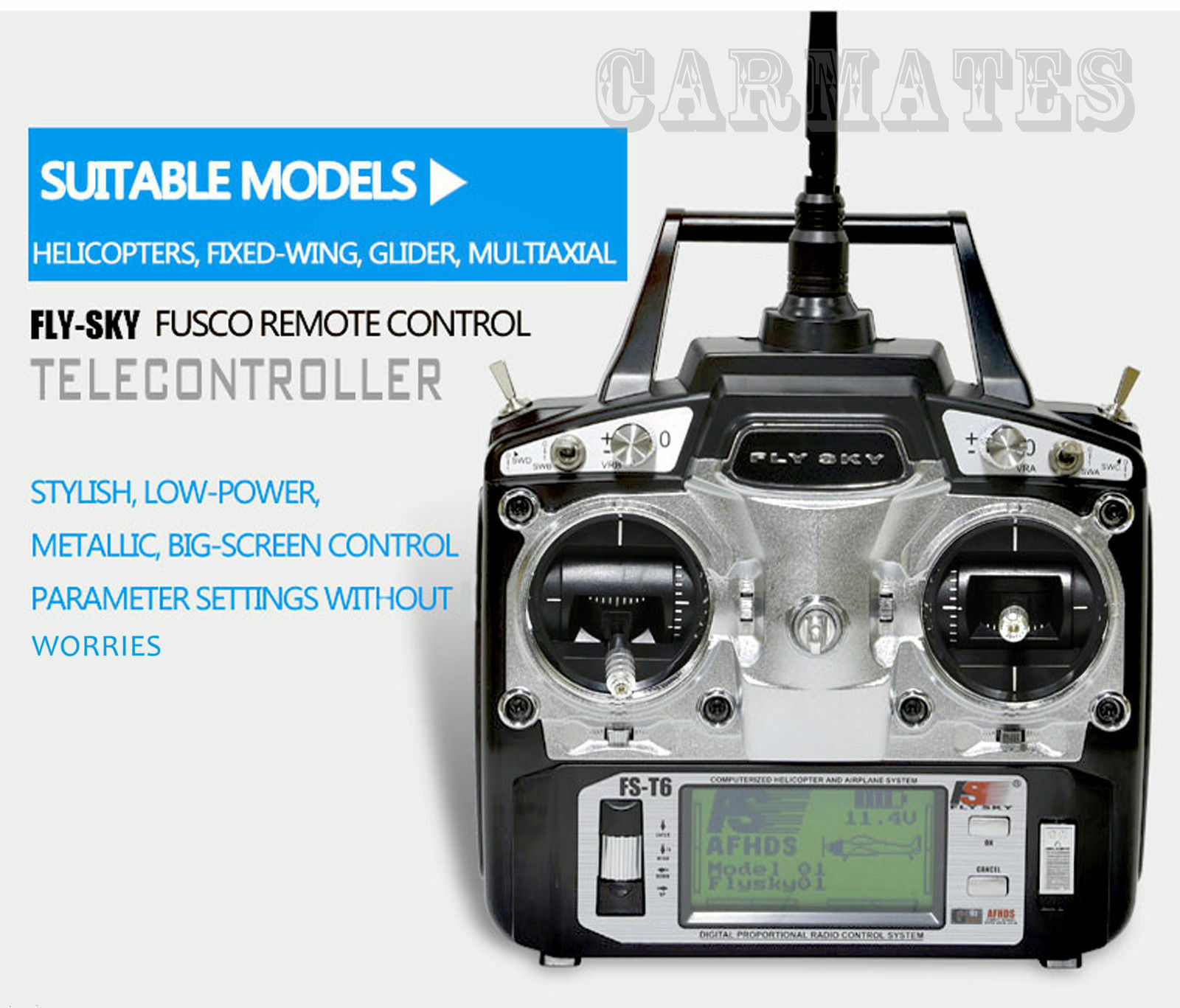 Flysky FS-T6 2.4GHz 6-CH Radio RC System Left Right Transmitter+ Receiver for RC
